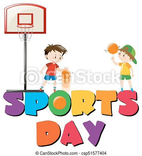 Sports day poster with boys playing basketball illustration for Sports day poster template