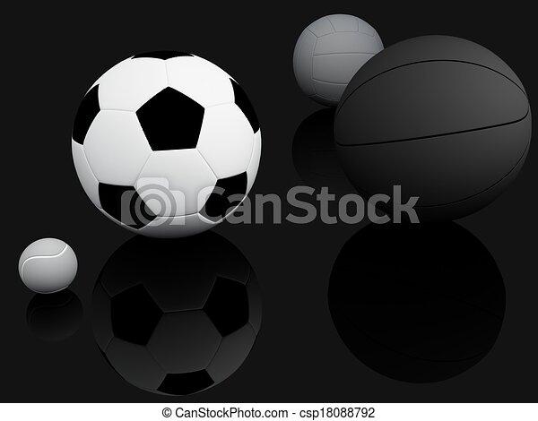 Sports Equipment. 3D illustration - csp18088792