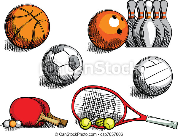 sports equipment sketching sporting equipment for football basket rh canstockphoto com sports equipment clip art free sports equipment clip art free
