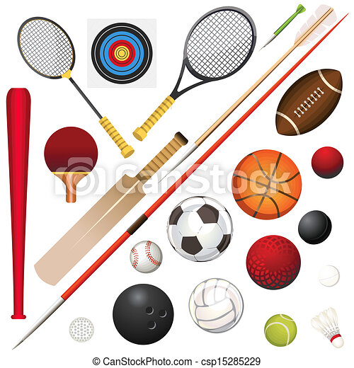 a vector illustration of various sports equipment rh canstockphoto com sports equipment clip art free sports equipment clipart free