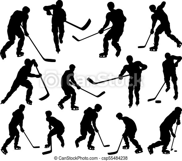 Sports Hockey Player Silhouettes A Set Of Detailed Silhouette