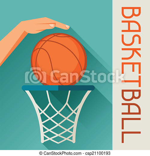 Sports illustration hand shot basketball ball through hoop. - csp21100193