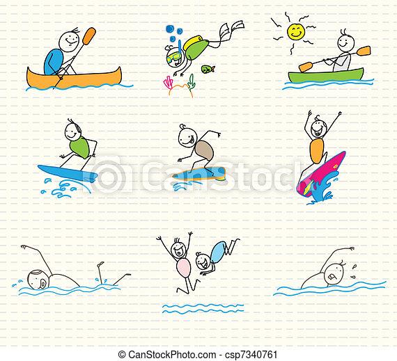 sports nautiques, griffonnage, vecteur - csp7340761
