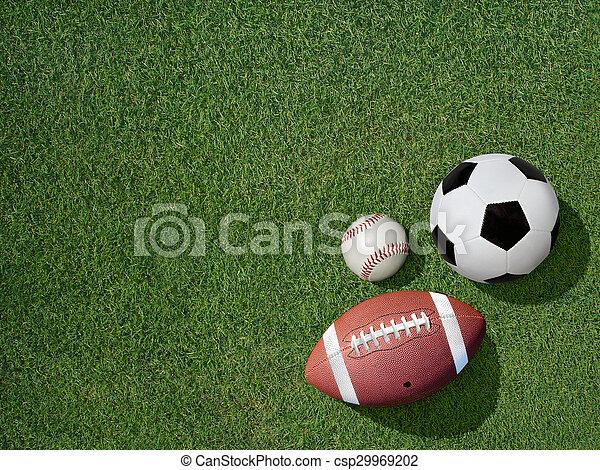 Sports on Green Grass Sports Turf - csp29969202