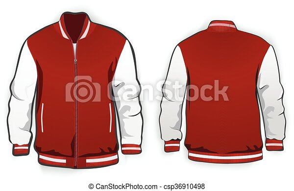 sports or varsity jacket template vector