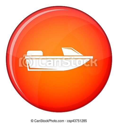 Sports powerboat icon, flat style - csp43751285