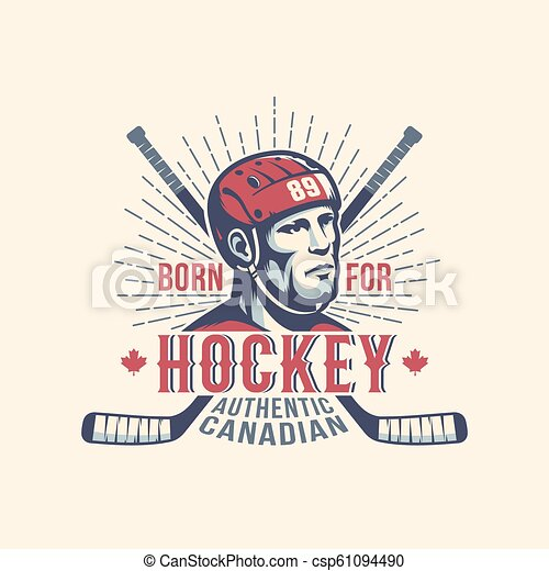 Sports print mascot with hockey player and sticks in vintage style - csp61094490