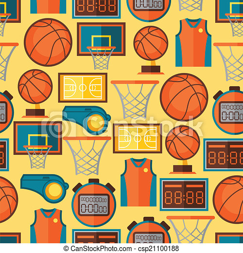 Sports seamless pattern with basketball icons in flat style. - csp21100188