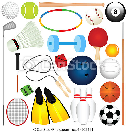 Sports set balls other exercise colorful vector sports for Sports clipart