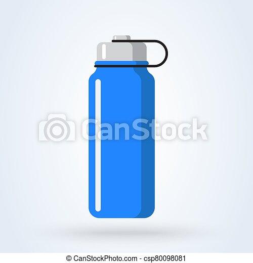 Sports water bottle icon. Blue plastic bottle in flat cartoon style. vector illustration - csp80098081