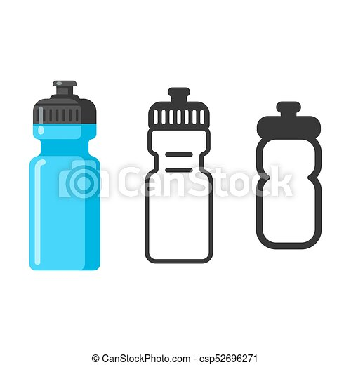 sports water bottle icon set flat cartoon style outline icon and
