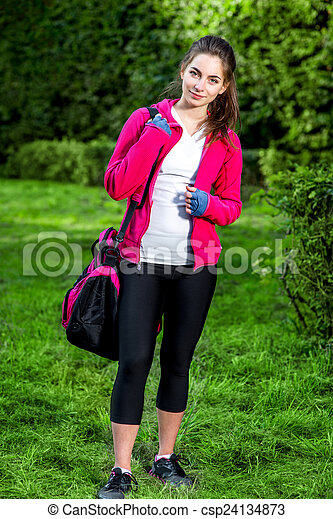 Sports woman in the park - csp24134873