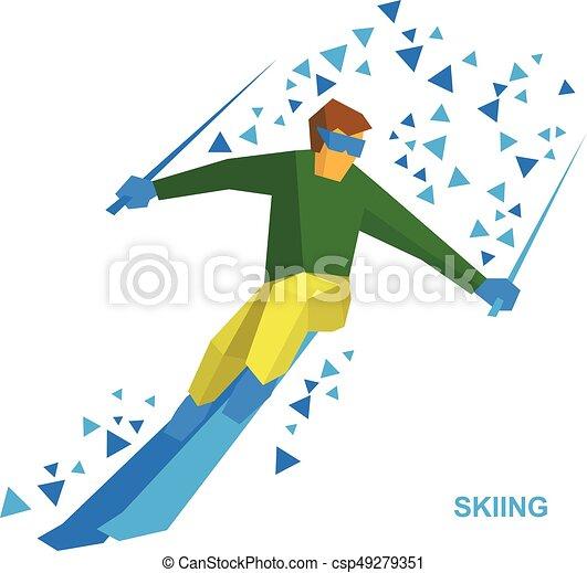 winter sports - skiing. cartoon skier running downhill. clipart