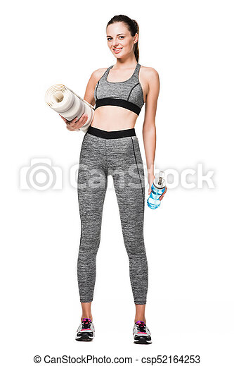 sportswoman with yoga mat and bottle of water - csp52164253