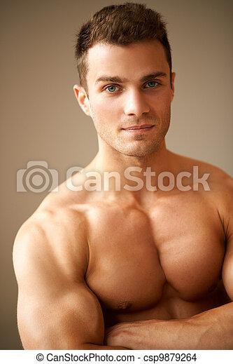 sportszerű, fegyver, erős, feláll, keresztbe tett, becsuk, ember - csp9879264