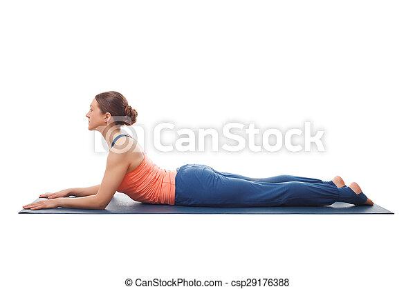 sporty fit yogini woman practices yoga asana salamba