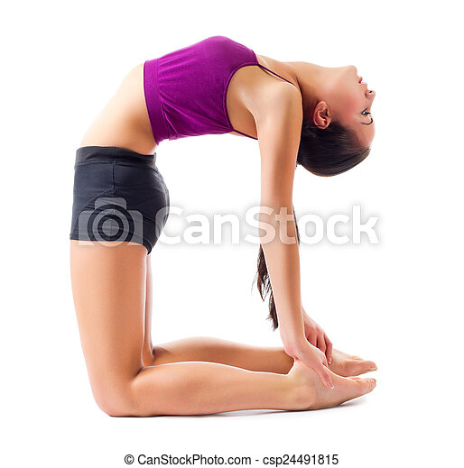 Sporty girl doing gymnastic exercises - csp24491815