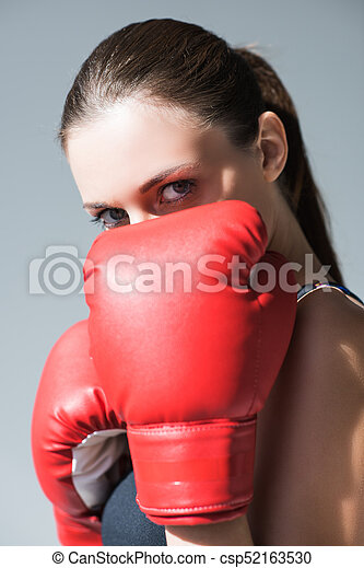 sporty girl in boxing gloves - csp52163530