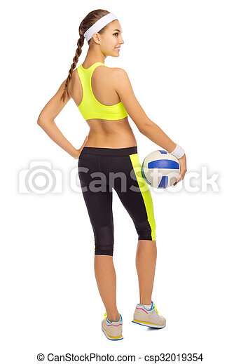 Sporty girl with ball - csp32019354