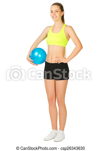 Sporty girl with ball - csp26343630