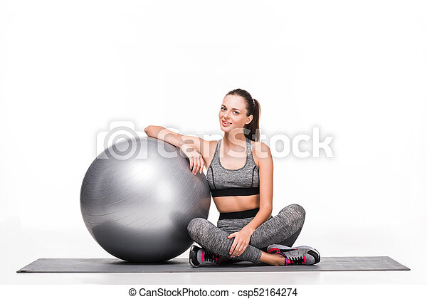 sporty girl with fitness ball - csp52164274