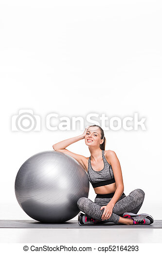 sporty girl with fitness ball - csp52164293