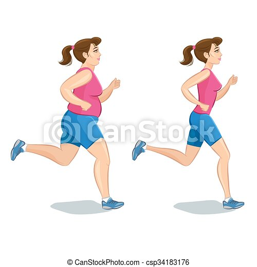 Sporty jogging woman, before and after, loss weight cardio training. Vector illustration. - csp34183176