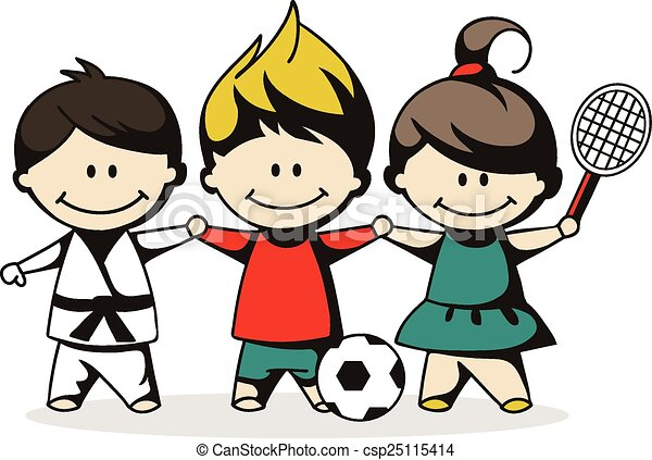 sporty kids vector illustration of sport children vector clip art rh canstockphoto com