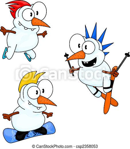 Sporty snowmen - csp2358053