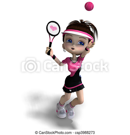 sporty toon girl in pink clothes plays tennis. 3D rendering and shadow over white - csp3988273