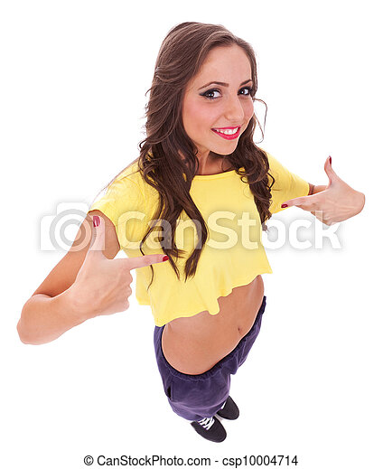 young casual sporty woman pointing to her self on white background
