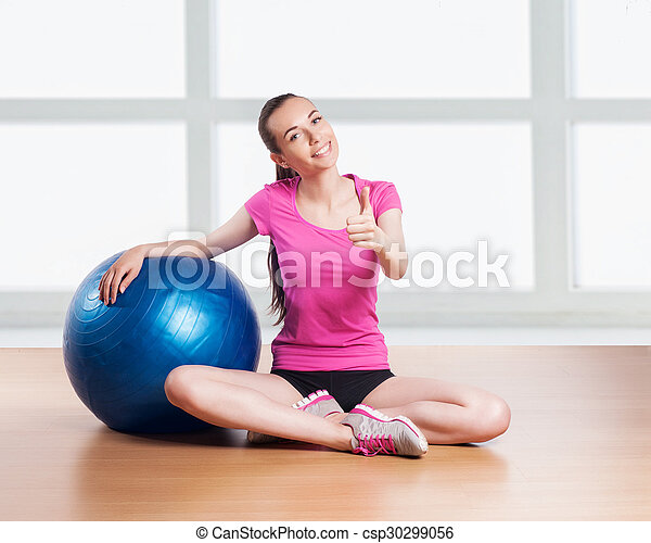 Sporty Woman with Fitness Ball. - csp30299056