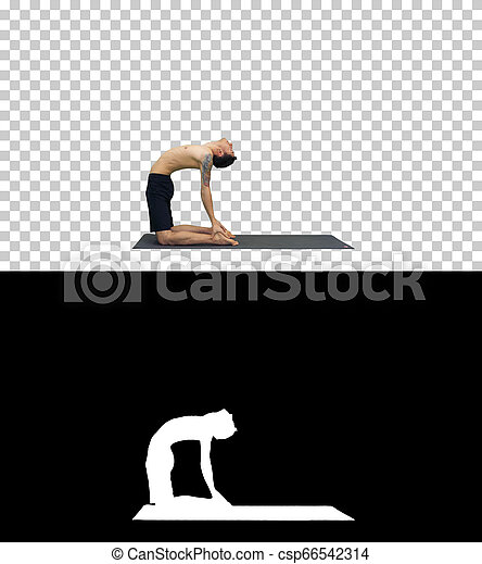 on alpha matte sporty young man working out yoga