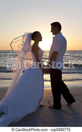sposato, &, coppia, sposo, sposa, tramonto, matrimonio, spiaggia - csp5582775