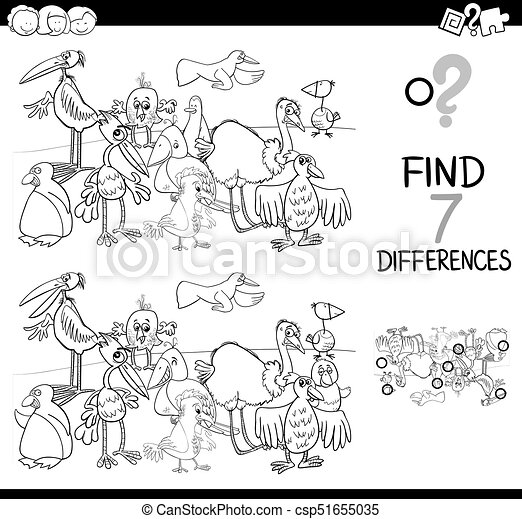 Spot the difference with birds coloring book. Black and white ...