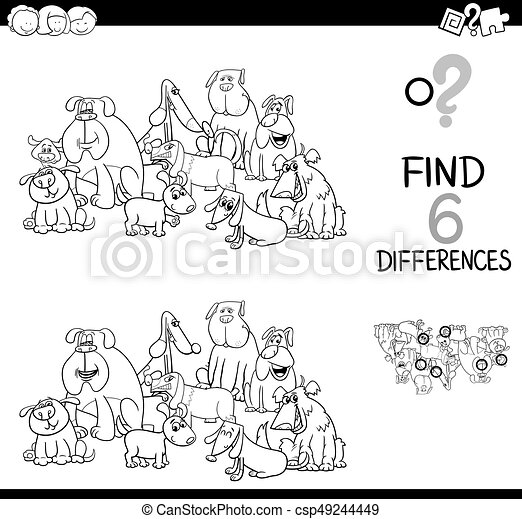 Spot the difference with dogs coloring book. Black and white cartoon ...
