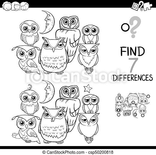Spot the difference with owls coloring book. Black and white cartoon ...