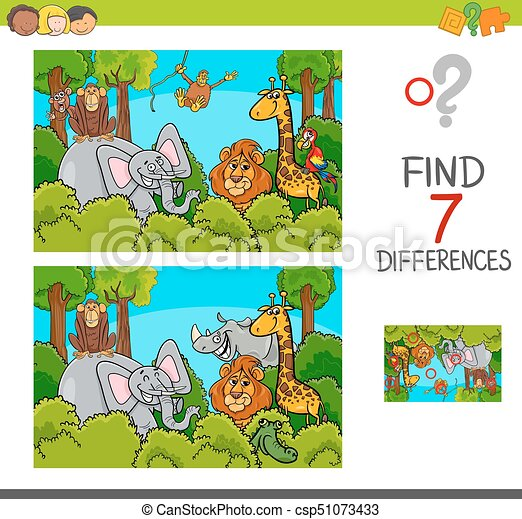 spot the differences game with wild animals - csp51073433