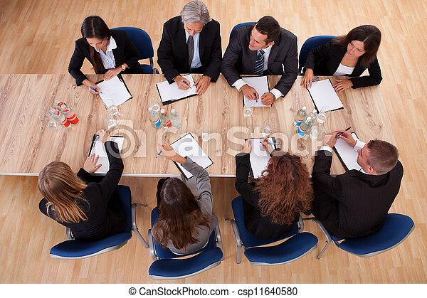 spotkanie, handlowy zaludniają - csp11640580
