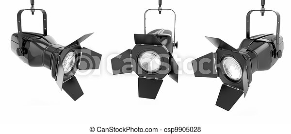 Spotlight Or Stage Light On White Isolated Background 3d