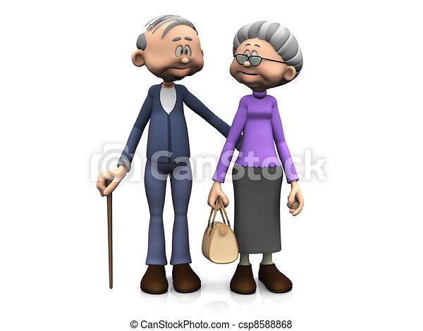 spotprent, bejaarden, paar. - csp8588868