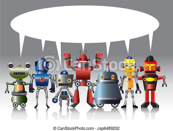 spotprent, kaart, robot - csp6489202