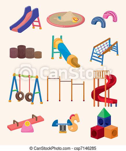 spotprent, pictogram, park, speelplaats - csp7146285