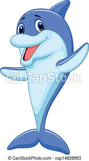 spotprent, schattig, dolfijn, zwaaiende  - csp14828883