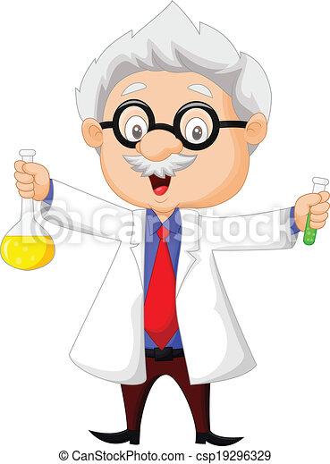 spotprent, vasthouden, chemische wetenschapper - csp19296329