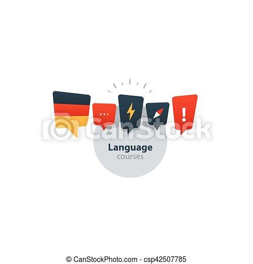 Sprache Deutsch Concept Fremd Fluent Kurse Werbung Sprechen