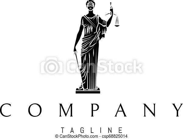 sprawiedliwość, 3, wektor, czarnoskóry, statua, logo, projektować, dama - csp68825014