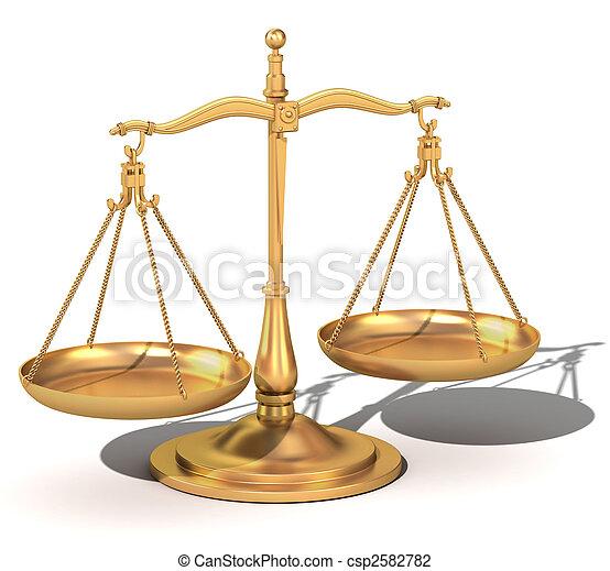 sprawiedliwość, waga, 3d, złoty, skalpy - csp2582782
