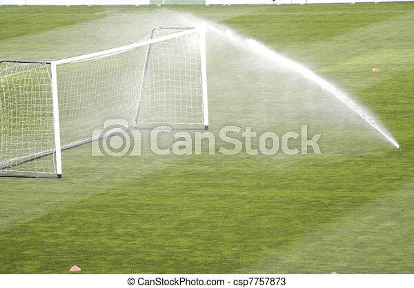 spray irrigation of a football stadium - csp7757873