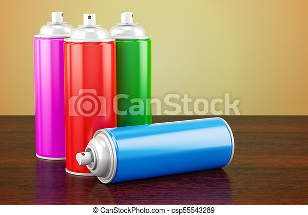 Spray paint cans on the wooden table  3D rendering